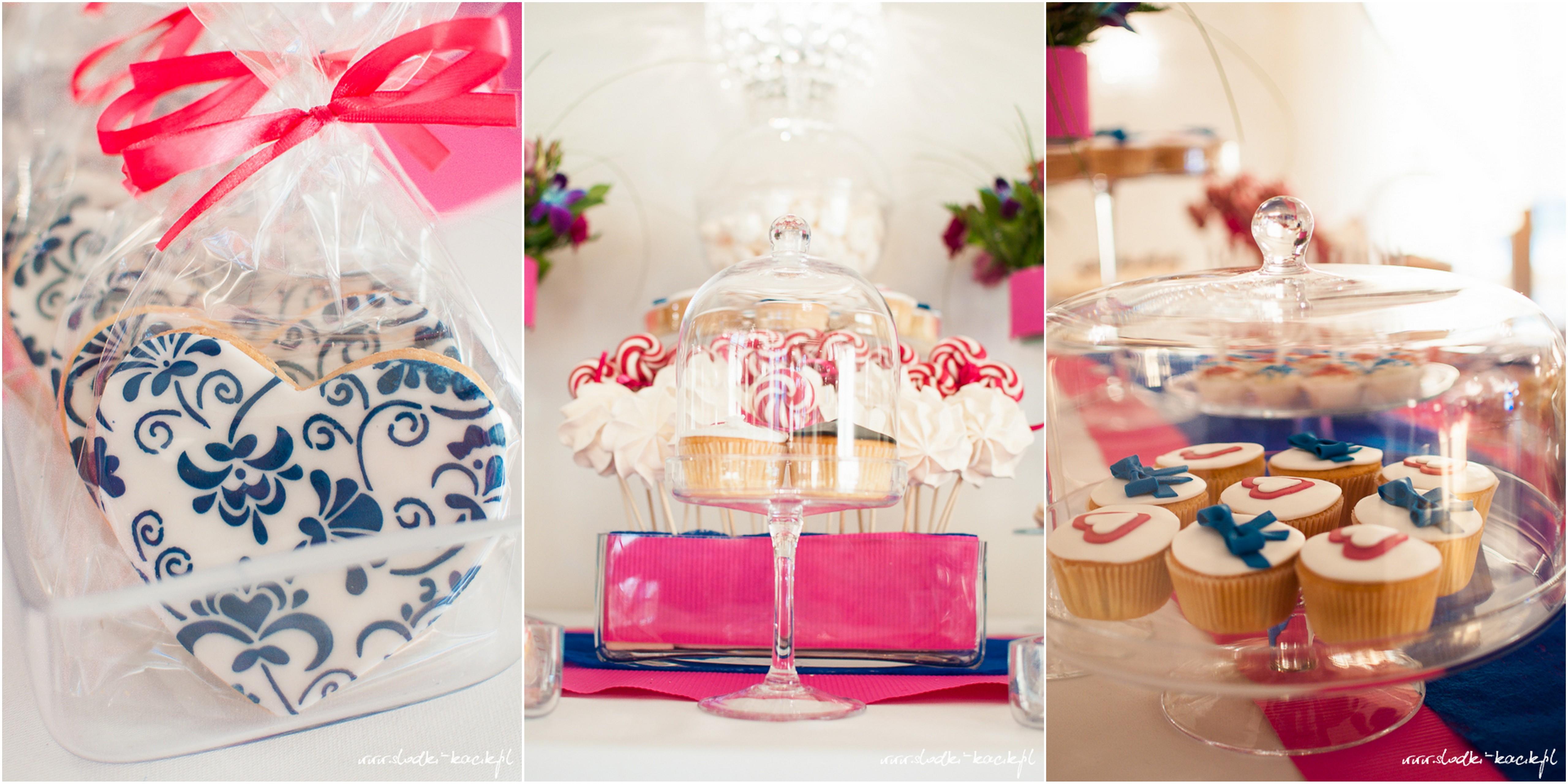 Słodki Kącik fuksja kobalt, słodki stół, słodki bufet, candy bar, tort weselny, ciasto wesele, ślub, pavlova, ciasteczka, słodycze, lizaki, buteleczki, cakepop, cupcake,  popcorn (3)