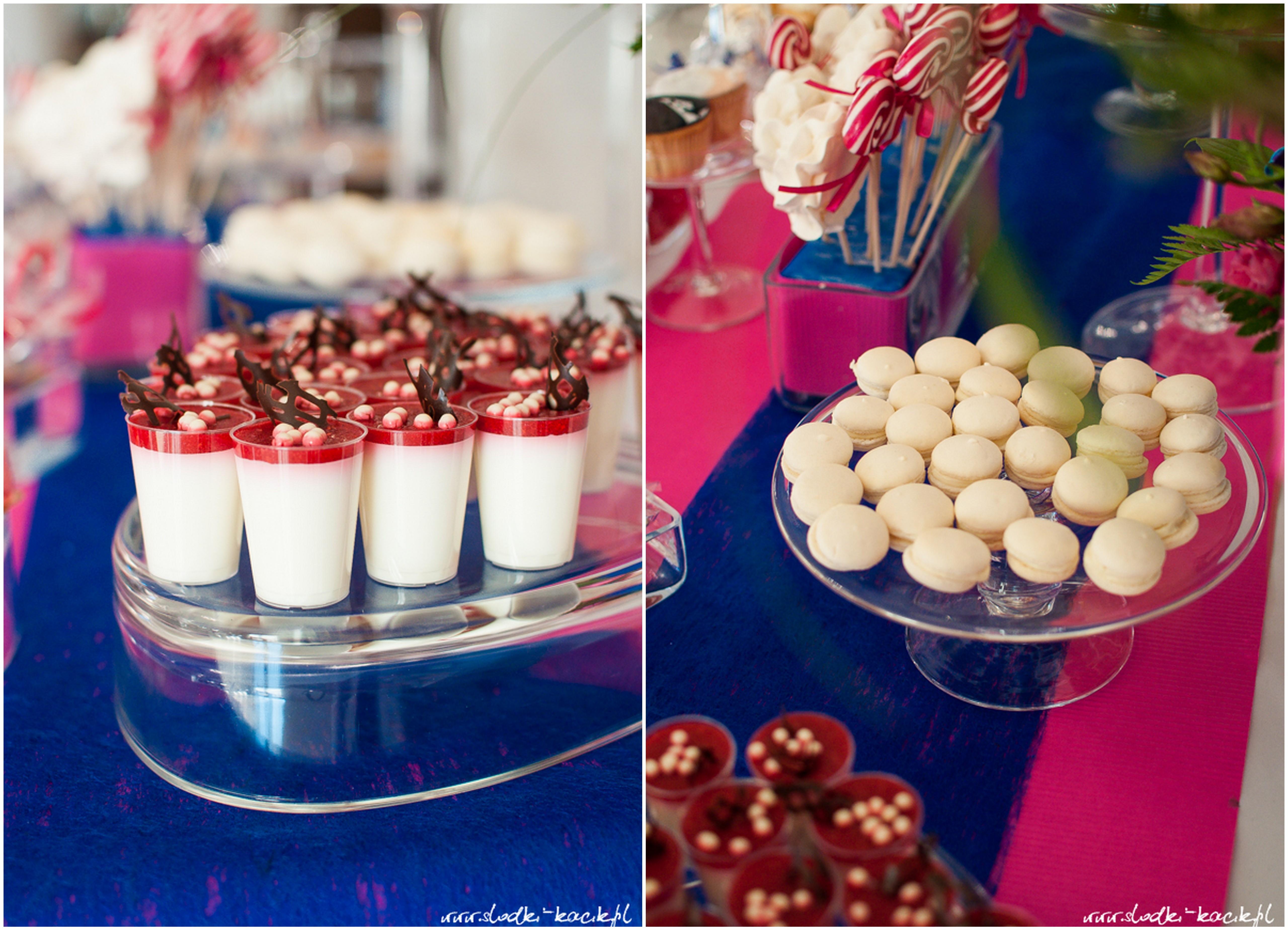Słodki Kącik fuksja kobalt, słodki stół, słodki bufet, candy bar, tort weselny, ciasto wesele, ślub, pavlova, ciasteczka, słodycze, lizaki, buteleczki, cakepop, cupcake,  popcorn (8)