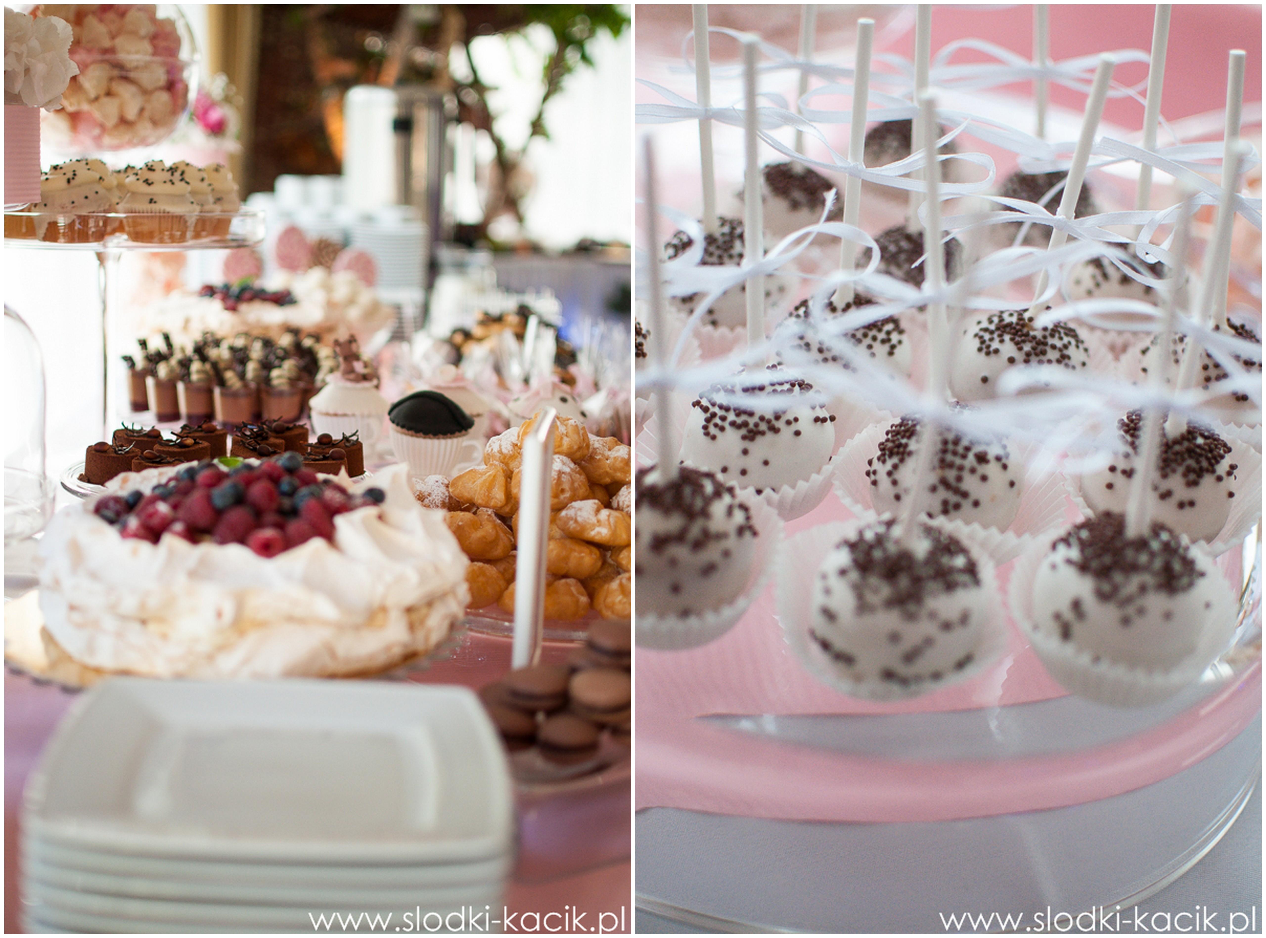 Słodki Kącik roz kropki, słodki stół, słodki bufet, candy bar, tort weselny, ciasto wesele, ślub, pavlova, ciasteczka, słodycze, lizaki, buteleczki, cakepop, cupcake,  popco (8)