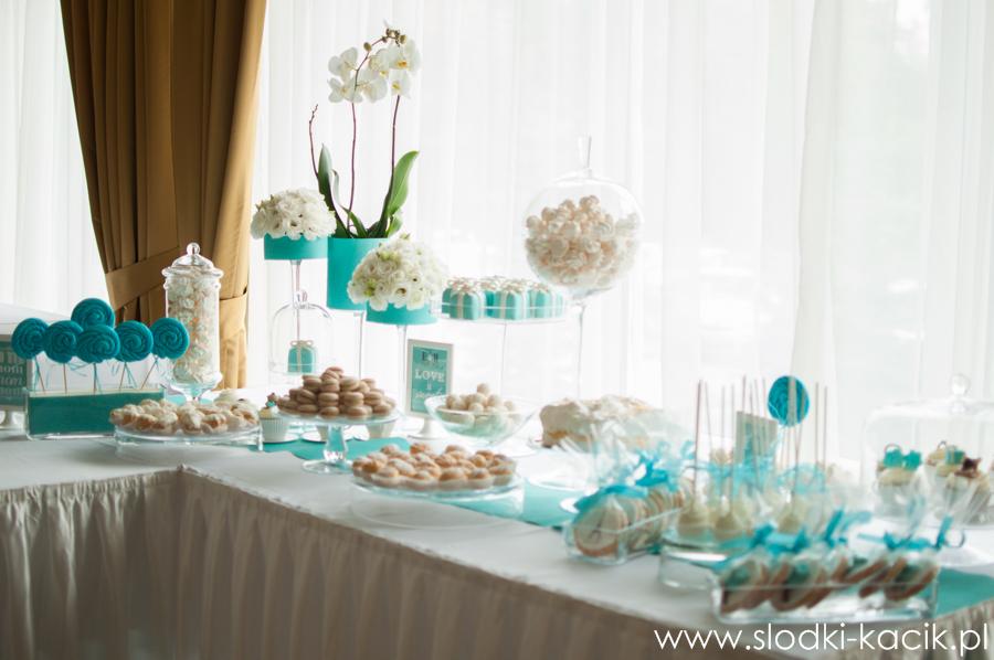 Słodki Kącik tiffany blue, słodki stół, słodki bufet, candy bar, tort weselny, ciasto wesele, ślub, pavlova, ciasteczka, słodycze, lizaki, buteleczki, cakepop, cupcake,  popcorn (1)